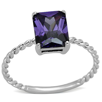 3W498 - Rhodium Brass Ring with AAA Grade CZ  in Amethyst