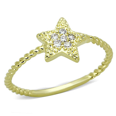 3W500 - Gold Brass Ring with AAA Grade CZ  in Clear