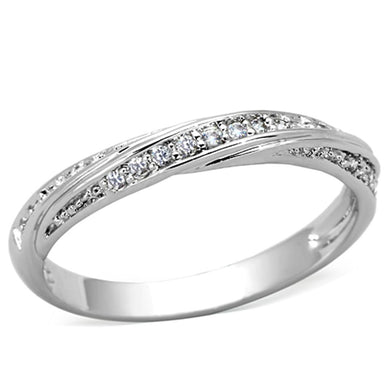 3W510 - Rhodium Brass Ring with AAA Grade CZ  in Clear