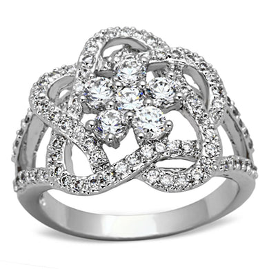 3W523 - Rhodium Brass Ring with AAA Grade CZ  in Clear