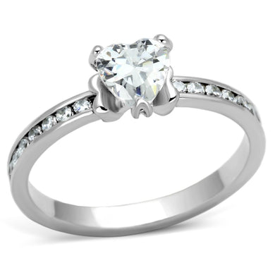 3W527 - Rhodium Brass Ring with AAA Grade CZ  in Clear