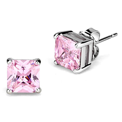 3W531 - Rhodium Brass Earrings with AAA Grade CZ  in Rose