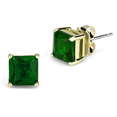 3W537 - Gold Brass Earrings with Synthetic Synthetic Glass in Emerald
