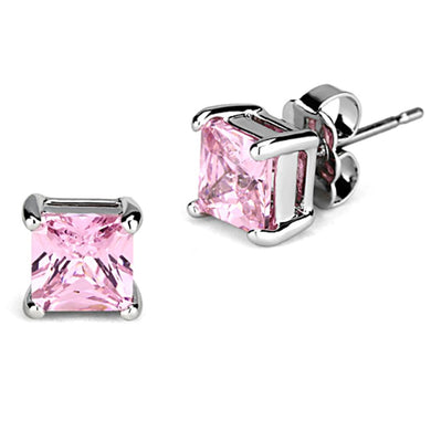 3W538 - Rhodium Brass Earrings with AAA Grade CZ  in Rose