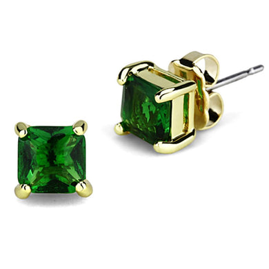 3W544 - Gold Brass Earrings with Synthetic Synthetic Glass in Emerald