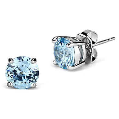 3W546 - Rhodium Brass Earrings with AAA Grade CZ  in Sea Blue