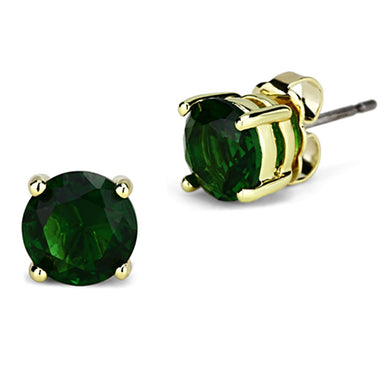 3W551 Gold Brass Earrings with Synthetic in Emerald