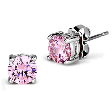3W552 - Rhodium Brass Earrings with AAA Grade CZ  in Rose