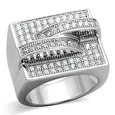 3W562 - Rhodium Brass Ring with AAA Grade CZ  in Clear