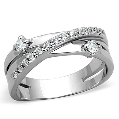 3W565 - Rhodium Brass Ring with AAA Grade CZ  in Clear