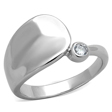 3W566 - Rhodium Brass Ring with AAA Grade CZ  in Clear