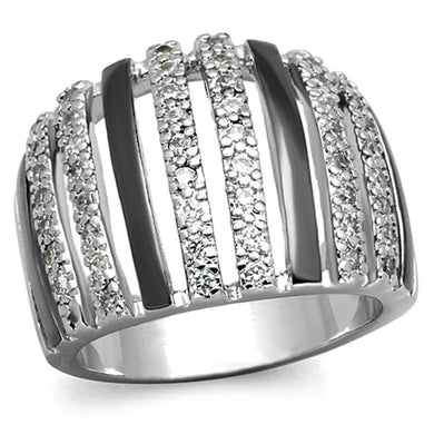 3W567 - Rhodium + Ruthenium Brass Ring with AAA Grade CZ  in Clear
