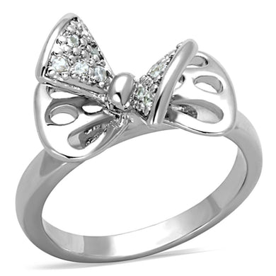 3W570 - Rhodium Brass Ring with AAA Grade CZ  in Clear