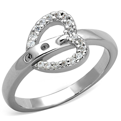 3W573 - Rhodium Brass Ring with AAA Grade CZ  in Clear