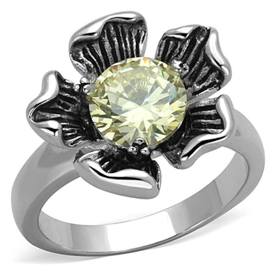 3W585 - Rhodium Brass Ring with AAA Grade CZ  in Citrine Yellow