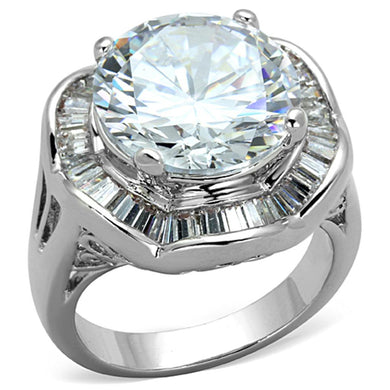 3W589 - Rhodium Brass Ring with AAA Grade CZ  in Clear