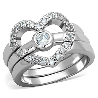 3W591 - Rhodium Brass Ring with AAA Grade CZ  in Clear