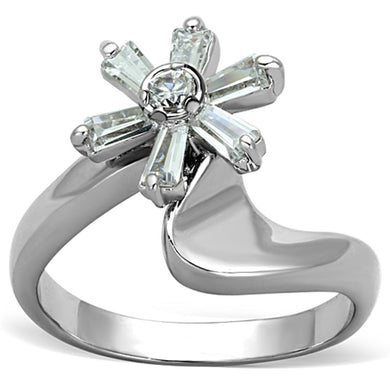 3W593 - Rhodium Brass Ring with AAA Grade CZ  in Clear