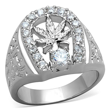 3W595 - Rhodium Brass Ring with AAA Grade CZ  in Clear