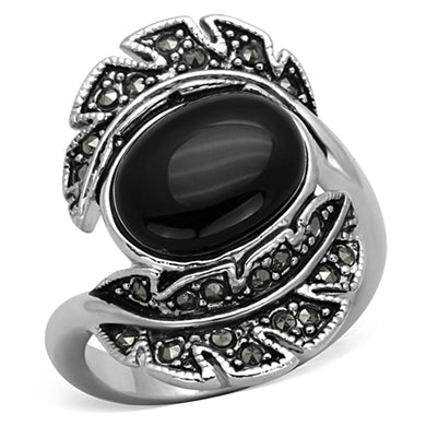 3W597 - Rhodium Brass Ring with Synthetic Onyx in Jet