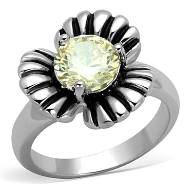 3W598 - Rhodium Brass Ring with AAA Grade CZ  in Citrine Yellow