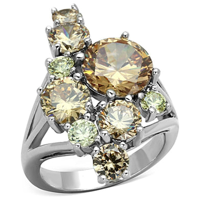 3W600 - Rhodium Brass Ring with AAA Grade CZ  in Multi Color