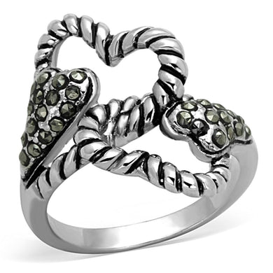3W608 - Rhodium Brass Ring with Synthetic Marcasite in Black Diamond