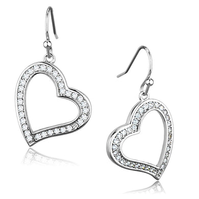 3W628 - Rhodium Brass Earrings with AAA Grade CZ  in Clear
