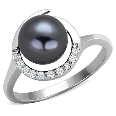 3W629 - Rhodium Brass Ring with Synthetic Pearl in Gray
