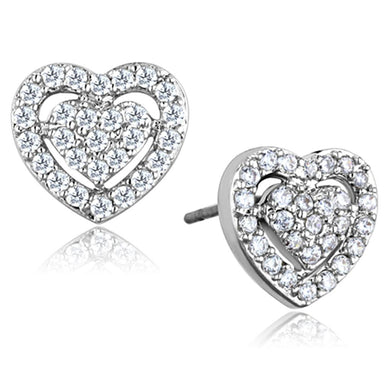 3W636 - Rhodium Brass Earrings with AAA Grade CZ  in Clear
