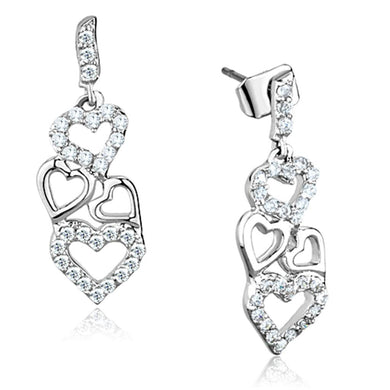 3W640 - Rhodium Brass Earrings with AAA Grade CZ  in Clear