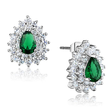 3W656 - Rhodium Brass Earrings with Synthetic Synthetic Glass in Emerald