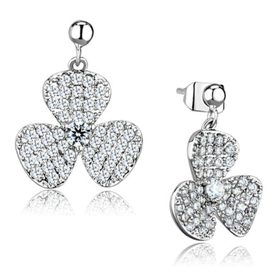 3W662 - Rhodium Brass Earrings with AAA Grade CZ  in Clear