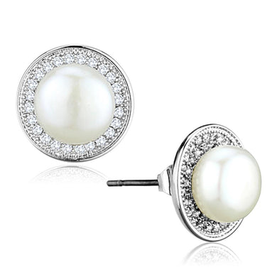 3W682 - Rhodium Brass Earrings with Synthetic Pearl in White