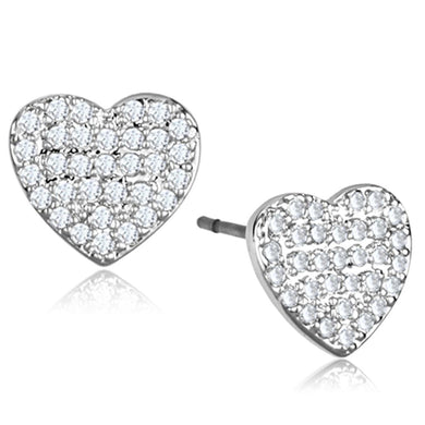 3W695 - Rhodium Brass Earrings with AAA Grade CZ  in Clear