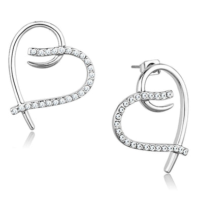 3W708 - Rhodium Brass Earrings with AAA Grade CZ  in Clear
