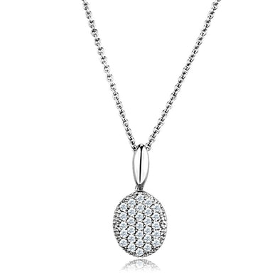 3W716 - Rhodium Brass Chain Pendant with AAA Grade CZ  in Clear