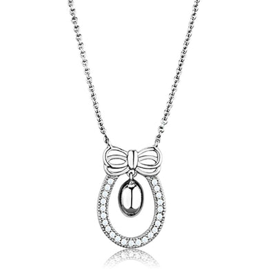 3W718 - Rhodium Brass Necklace with AAA Grade CZ  in Clear