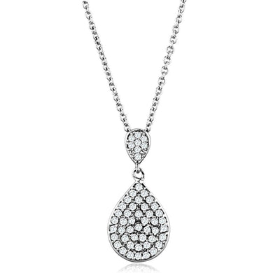 3W720 - Rhodium Brass Necklace with AAA Grade CZ  in Clear