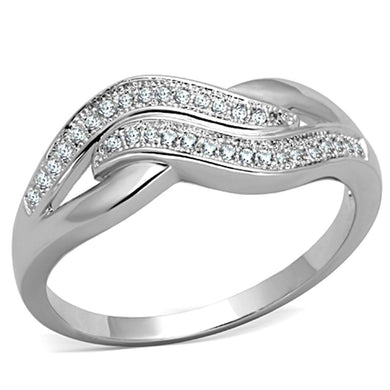 3W724 - Rhodium Brass Ring with AAA Grade CZ  in Clear