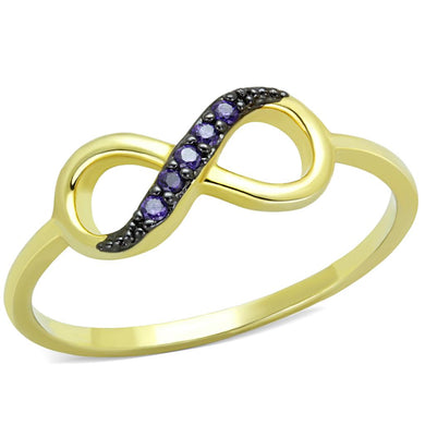 3W727 - Gold+Ruthenium Brass Ring with AAA Grade CZ  in Tanzanite