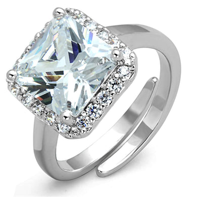 3W729 - Rhodium Brass Ring with AAA Grade CZ  in Clear