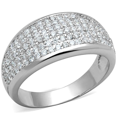 3W730 - Rhodium Brass Ring with AAA Grade CZ  in Clear