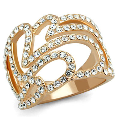 3W733 - Rose Gold Brass Ring with Top Grade Crystal  in Clear
