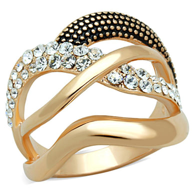 3W737 - Rose Gold Brass Ring with Top Grade Crystal  in Clear