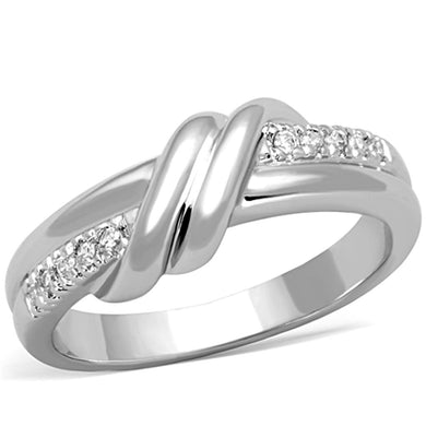3W741 - Rhodium Brass Ring with AAA Grade CZ  in Clear