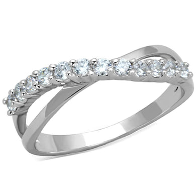 3W742 - Rhodium Brass Ring with AAA Grade CZ  in Clear