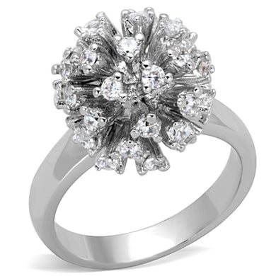 3W752 - Rhodium Brass Ring with AAA Grade CZ  in Clear