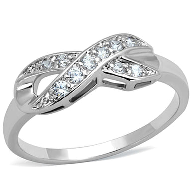 3W757 - Rhodium Brass Ring with AAA Grade CZ  in Clear