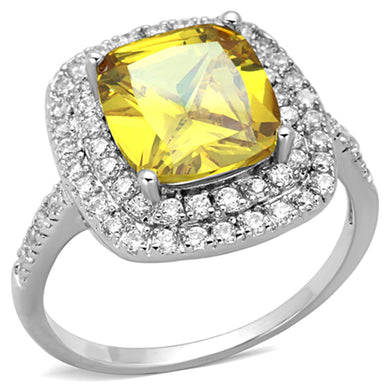 3W760 - Rhodium Brass Ring with AAA Grade CZ  in Topaz